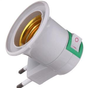 Eu Plug with Switch and E27 bulb socket