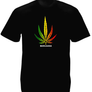 Marijuana Rasta Colors Big Cannabis Leaf Black Tee-Shirt