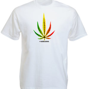 Marijuana Rasta Colors Big Cannabis Leaf White Tee-Shirt
