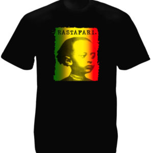 Hailé Sélassié Green Yellow Red Rastafari Black Tee-Shirt