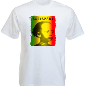 Hailé Sélassié Green Yellow Red Rastafari White Tee-Shirt