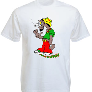 Humour Rastaman with Joint White Tee-Shirt