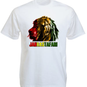 Jah Rastafari Lion Head White Tee-Shirt