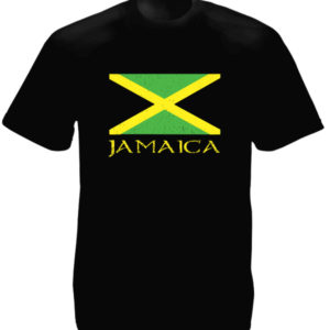 Jamaica Green Yellow Black Flag Black Tee-Shirt