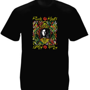 Psychedelic Colors Rasta Root Black Tee-Shirt