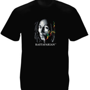 Bob Marley Rastafarian Smoking Joint Black Tee-Shirt