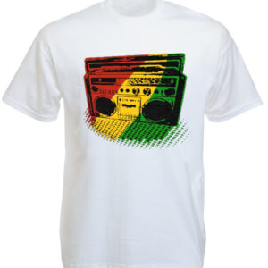 Green Yellow Red Rasta Radio White Tee-Shirt