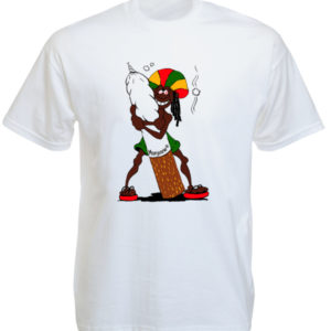 Rastaman Big Ganja Joint White Tee-Shirt
