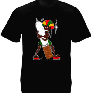 Rastaman Big Ganja Joint Black Tee-Shirt