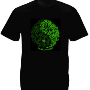 Yin & Yang Marijuana Leaves Black Tee-Shirt