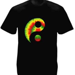 Rasta Yin and Yang Psychedelic Black Tee-Shirt