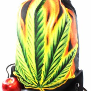 Rasta Drawstring Backpack Cannabis Leaf