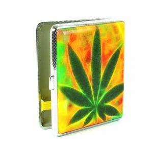 Rasta Color Cigarette Case Green Cannabis