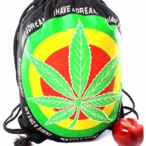 Rasta Drawstring Backpack Big Cannabis