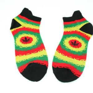 Black Rasta Socks Colorful Leaf