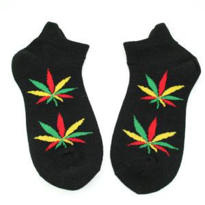 Black Rasta Socks Leaf