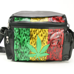 Rasta Black Vinyl Shoulder Bag Reggae Cannabis