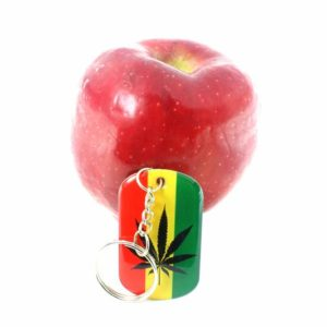 Rasta Metallic Keyring Black and Green Cannabis