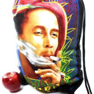 Rasta Drawstring Backpack Bob Marley Smoking