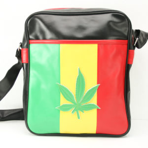 Rasta Black Vinyl Bag Reggae Leather Leaf
