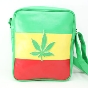 Rasta Green Vinyl Bag Reggae Leather Leaf