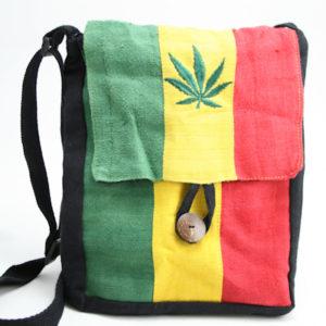 Rasta Leaf Hemp Large Flat Bag with Button